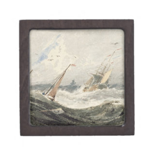 Boats on a Stormy Sea (w/c over graphite on wove p Keepsake Box