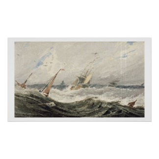 Boats on a Stormy Sea (w/c over graphite on wove p Poster