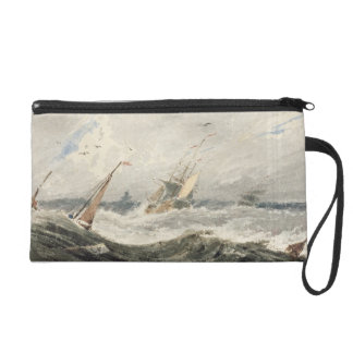 Boats on a Stormy Sea (w/c over graphite on wove p Wristlet Purse