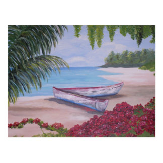 Boats on a tropical  island getaway postcard