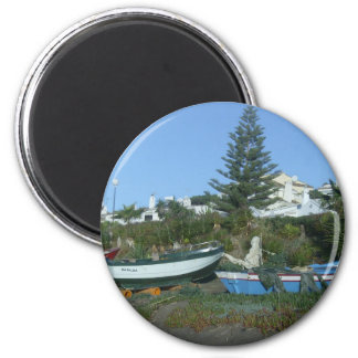 Boats on beach near Fuengirola 2 Inch Round Magnet