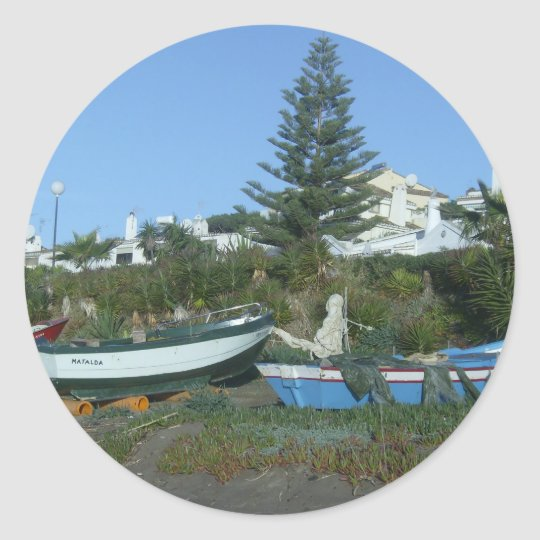 Boats on beach near Fuengirola Classic Round Sticker