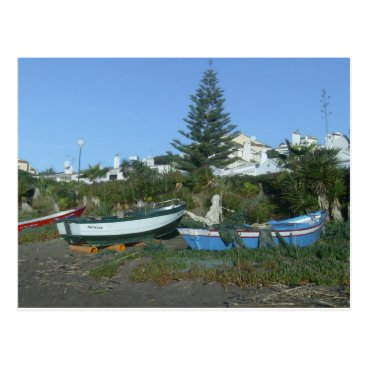 Beach Themed Boats on beach near Fuengirola Postcard