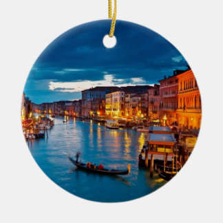 Boats On Canal Water Colorful Venice Italy Ceramic Ornament