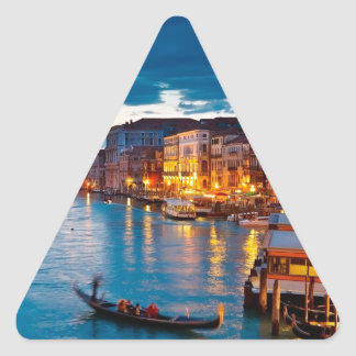 Boats On Canal Water Colorful Venice Italy Triangle Stickers