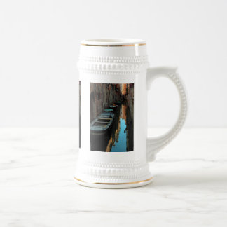 Boats on Canal Water Venice Italy Buildings Beer Stein