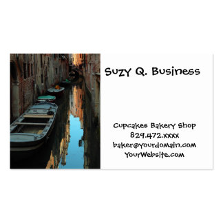Boats on Canal Water Venice Italy Buildings Business Card