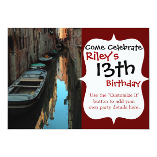 Boats on Canal Water Venice Italy Buildings Card