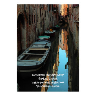 Boats on Canal Water Venice Italy Buildings Large Business Card