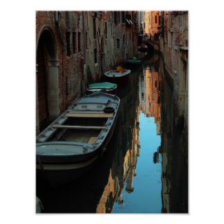 Boats on Canal Water Venice Italy Buildings Poster