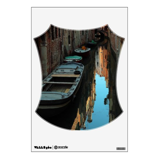Boats on Canal Water Venice Italy Buildings Wall Sticker