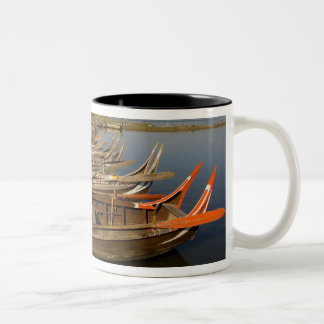 Boats on lake between Kyauktawgyi Paya and Two-Tone Coffee Mug
