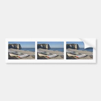 Boats on pebble beach of Etretat Bumper Sticker