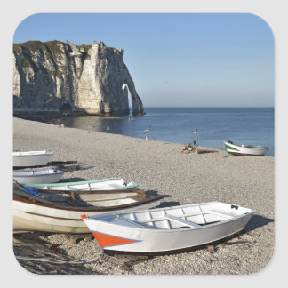 Boats on pebble beach of Etretat Square Stickers