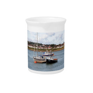 Boats on River Conwy, Wales Drink Pitcher