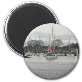 Boats on River Stour 2 Inch Round Magnet