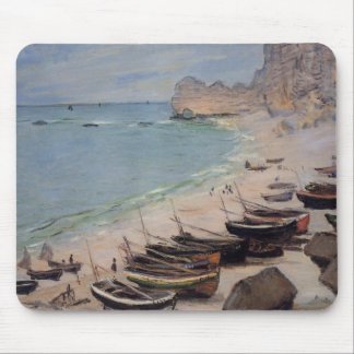 Boats on the Beach at Etretat - Claude Monet Mouse Pad