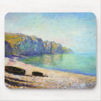 Boats on the Beach at Pourville, Low Tide Monet Mouse Pad