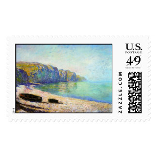 Boats on the Beach at Pourville, Low Tide Monet Postage