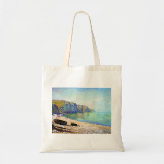 Boats on the Beach at Pourville, Low Tide Monet Tote Bag