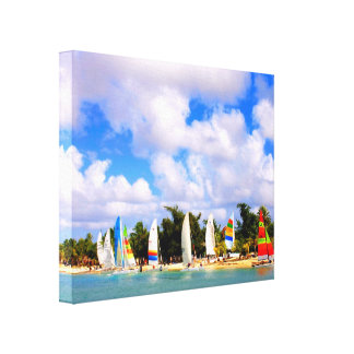 Boats on the Beach before the race Stretched Canvas Prints