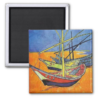 Boats on the Beach by Vincent van Gogh 2 Inch Square Magnet