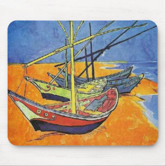 Boats on the Beach by Vincent van Gogh Mouse Pad