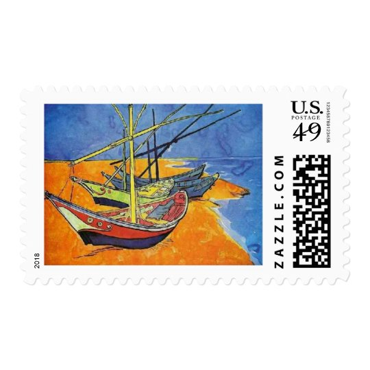 Boats on the Beach by Vincent van Gogh Postage