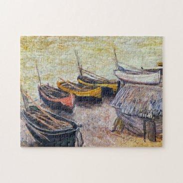 Beach Themed Boats on the Beach Monet Fine Art Jigsaw Puzzle