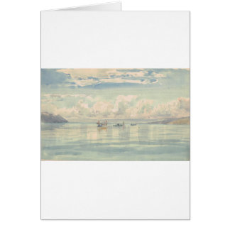 Boats on the Lac Leman by Francois Bocion Card