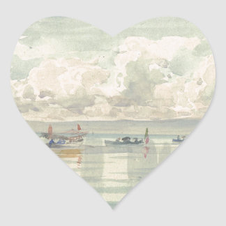 Boats on the Lac Leman by Francois Bocion Heart Sticker