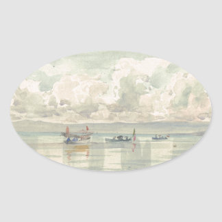 Boats on the Lac Leman by Francois Bocion Oval Sticker