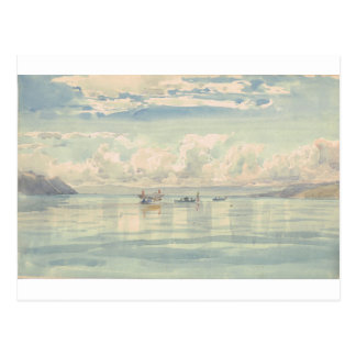 Boats on the Lac Leman by Francois Bocion Postcard