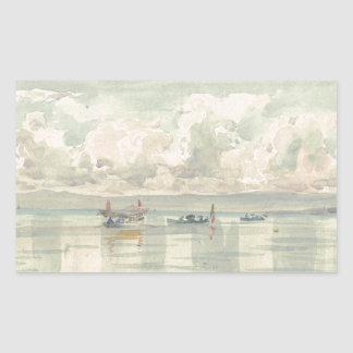 Boats on the Lac Leman by Francois Bocion Rectangular Sticker
