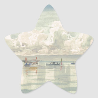 Boats on the Lac Leman by Francois Bocion Star Sticker