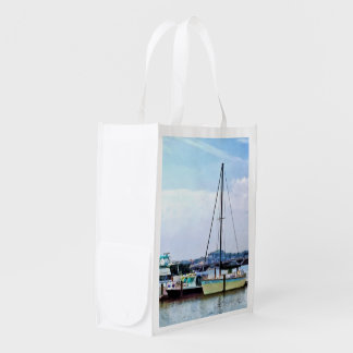 Boats on the Potomac Near Founders Park Grocery Bag