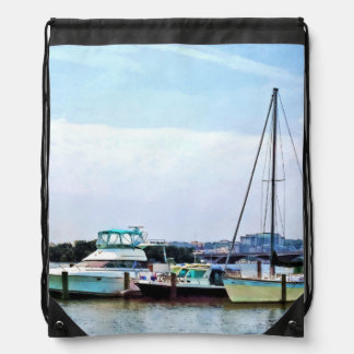 Boats on the Potomac Near Founders Park Drawstring Backpack