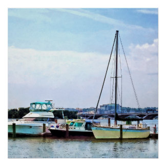 Boats on the Potomac Near Founders Park Poster