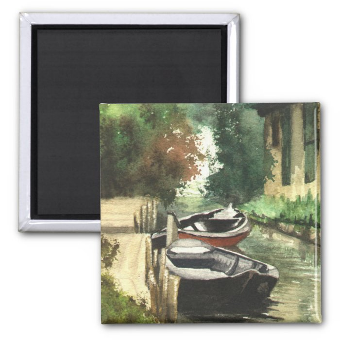 Boats on the River 2 Inch Square Magnet
