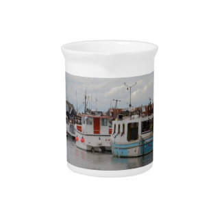 Boats On The River At Southwold Beverage Pitcher