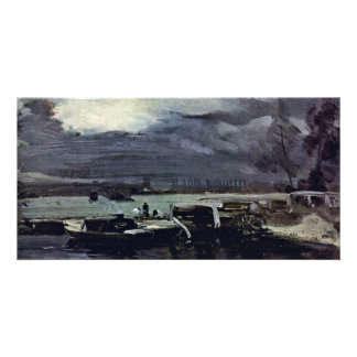 Boats On The River Stour Deadham Church In The Bac Custom Photo Card