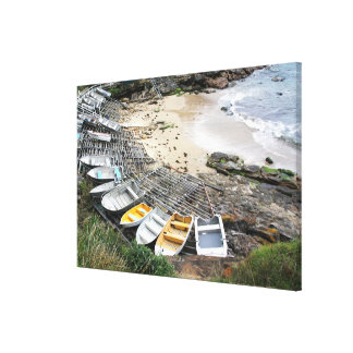 Boats on the shore of Gordon's Bay Canvas Print