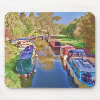 Boats on the Somerset Canal Mouse Pad