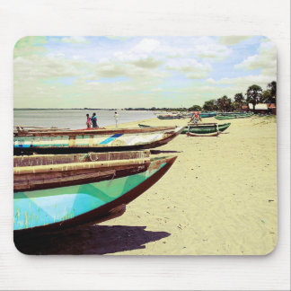 Boats on Tropical Beach Mouse Pad