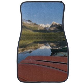 Boats parked on the lakeshore of Maligne Lake, Car Mat