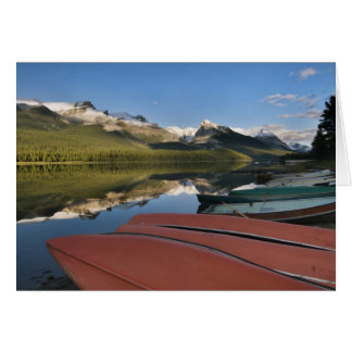 Boats parked on the lakeshore of Maligne Lake, Greeting Cards