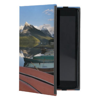 Boats parked on the lakeshore of Maligne Lake, Cover For iPad Mini