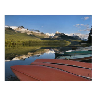 Boats parked on the lakeshore of Maligne Lake, Postcards