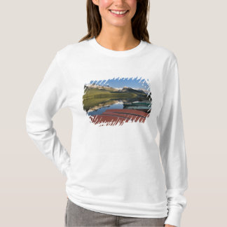 Boats parked on the lakeshore of Maligne Lake, T-Shirt