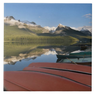 Boats parked on the lakeshore of Maligne Lake, Tile
